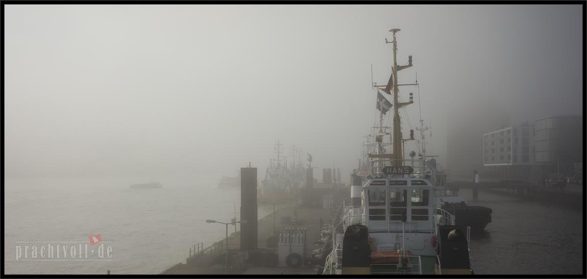 Am 21. November 2014 hängt morgens dichter Herbstnebel über dem Wasser  des Hamburger Hafens.