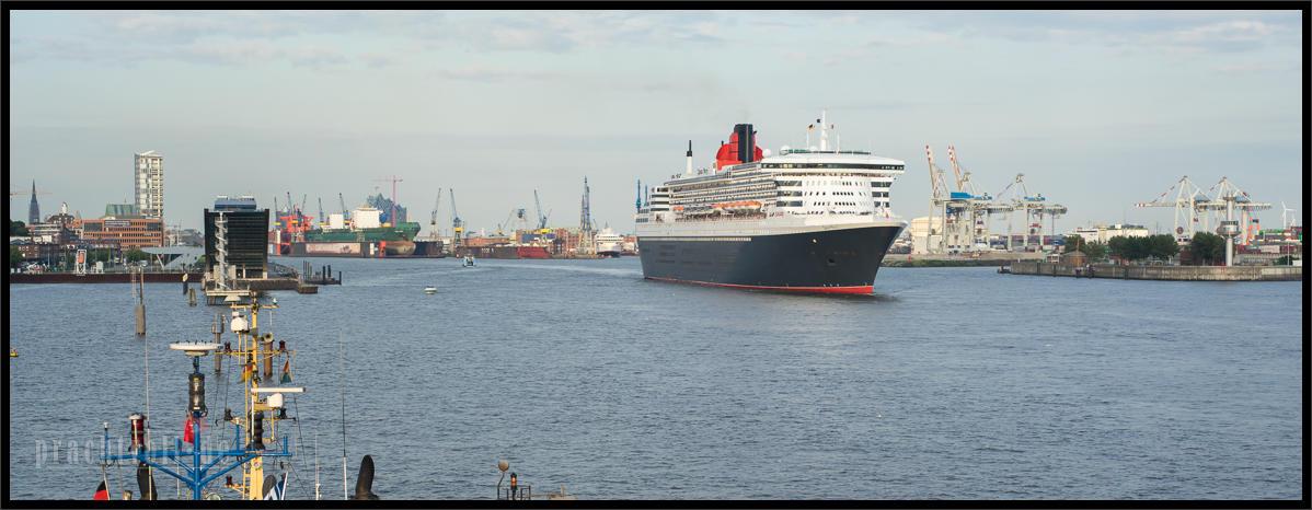 Wer am 15. Juli 2014 abends mit der Queen Mary 2 in Hamburg  ausgelaufen ist