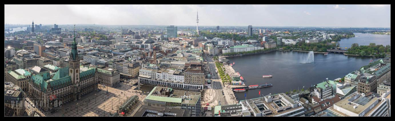 Ausblicke auf die Innenstadt von Hamburg   vom 25. April 2014