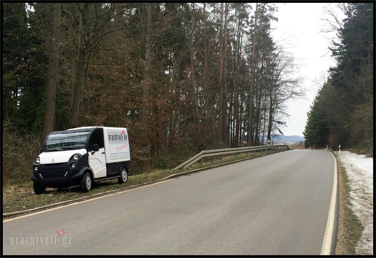 """Spontan ging es am 7.1. mit meinem """"Leicht-Kfz Aixam D-Truck 400"""" von Hamburg zu  meinem Freund Klausi nach München."""